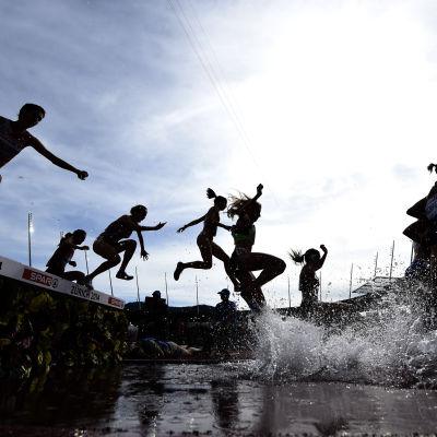 Hinderlöpare vid vattenhinder i EM i Zürich i augusti 2014