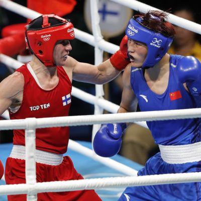 Mira Potkonen ja Yin Junhua Rion olympialaisissa 2016.
