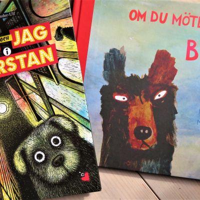 """Pärmarna till bilderböckerna """"Fidel och jag i storstan"""" och """"Om jag möten en björn""""."""