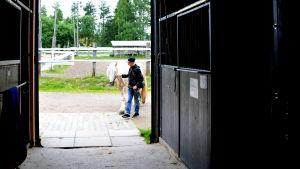 Pojke leder häst in i stallet