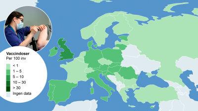 Vaccinationkartan över Europa.