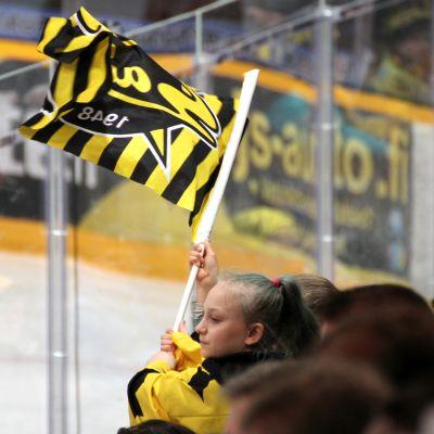 SaiPakannattaja heiluttaa lippua Lappeenrannan Kisapuistossa