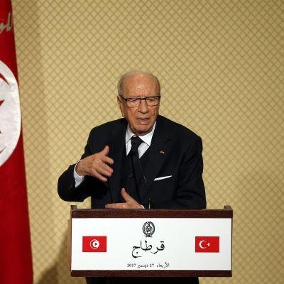 Tunisiens president Beji Caid Essebsi talade vid en presskonferens i preidentpalatset i Tunis den 27 december 2017.