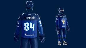 Ishockeylandslagens nya bortatröjor.