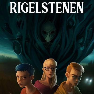En teckning av tre ungdomar som står framför en mörk trädstam om natten.