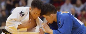 OS-mästaren Shohei Ono från Japan (i blått) mötte sin landsman Ebinuma Masashi i Düsseldorf i februari 2019.