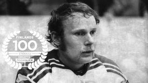 Stig Wetzell, 1974, med logon för Finlands 100 största idrottsögonblick.