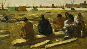 """George Hendrik Breitnerin maalaus lounastavista työläisistä Amsterdamissa. """"Schafttijd in de bouwput aan de Van Diemenstraat in Amsterdam"""", vuosi 1897."""