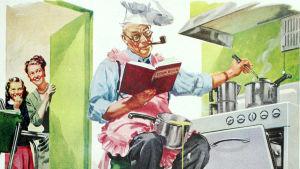 Vanhempi mies katsoo keittokirjaa ja kokkaa.