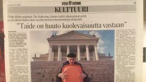 Revinnäinen sanomalehti Uuden Suomen sivusta 14.9.1991.