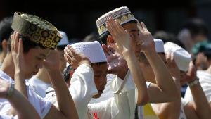 Muslimer i Beijing, Kina, ber i samband med id al-fitr.