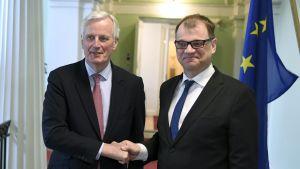 EU:s chefsförhandlare Michel Barnier mötte statsminister Juha Sipilä i Helsingfors.