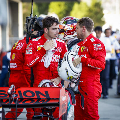 Charles Leclerc och Sebastian Vettel.