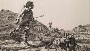 Adam Bartsch: Der Wolf mit dem Lamme, vom Hirten verfolgt, 1803 (Vargen med lammet, förföljd av herden)