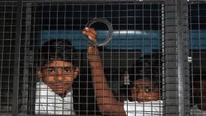 Barnarbetare som fritogs av indiska myndigheter från fabriker i Hyderabad i maj 2015