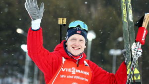 Johannes Thingnes Bö under det avslutande skidskytteveckoslutet i Ryssland.