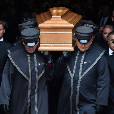 Niki Laudas kista vid begravningen den 29 maj 2019.