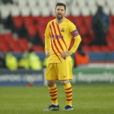 Barcelonas stjärna Lionel Messi i matchen mot PSG.