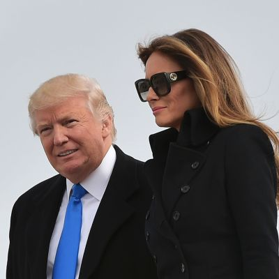 Donald Trump och frun Melania Trump anländer till Washington den 19 januari 2017, inför presidentinstallationen den 20 januari 2017.