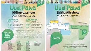 Uusi Päivä jäähyväisshown ohjelma ja kartta.