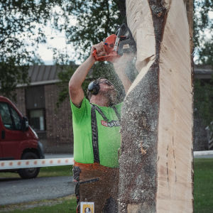 Mies sahaa moottorisahalla puupölkkyä.