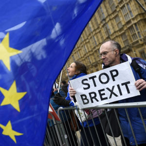 """Britter utanför parlamentshuset håller skylt med texten """"stoppa brexit""""."""