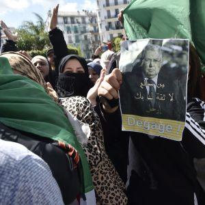 """Protester mot Algeriets interimspresident Abdelkader Bensalah: """"Bensalah, försvinn. Vi litar inte på dig"""", står det på ett plakat. Alger 10.4.2019"""
