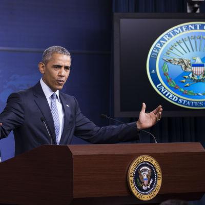Barack Obama pratar om bland annat IS på en presskonferens i Pentagon efter ett mäte med säkerhetsrådet 4.8.2016