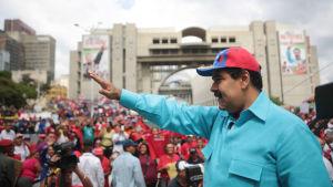 President Nicolás Maduro under ett politiskt möte i Caracas den 14 maj 2016.