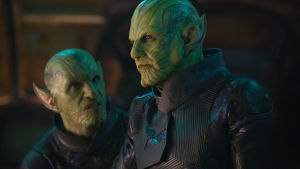 Två gröna representanter för Skrullkrigarna.