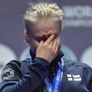Petra Olli rördes till tårar efter VM-guldet.