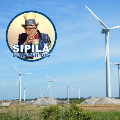 Vindkraftpark med bild på Juha Sipilä