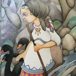 Lemminkäinens moder går vid sidan av svarta svanar.