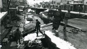 Ett foto taget efter långfredagsskalvet i Alaska år 1964.