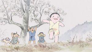 Kuva elokuvasta Prinsessa Kaguyan taru. Lapset juoksevat pellolla.