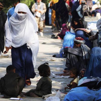 Interna flyktingar i Afghanistan som sökt skydd i Kabul.