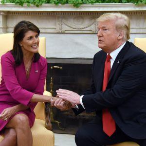 Nikki Haley skakar hand med president Donald Trump under pressmötet efter att Haley meddelat att hon lämnar sin post som USA:s FN-ambassadör.