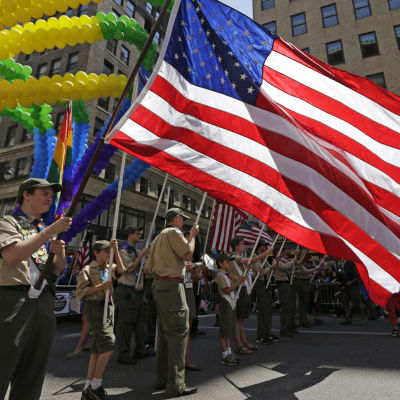 The Boy Scouts of America deltog i den 44:e prideparaden i New York den 29 juni 2014.