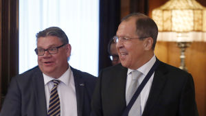 Timo Soini och Sergej Lavrov, utrikesministrar i Finland och Ryssland