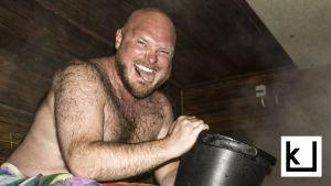 sauna, hikinen mies, löylynheitto, juhannus, huonot tavat