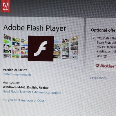Adobe Flash Players nedladdnignssida.