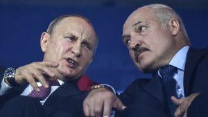 Rysslands president Vladimir Putin och hans belarusiske kollega Alexander Lukasjenko på en arkivbild från den 30 juni 2019.