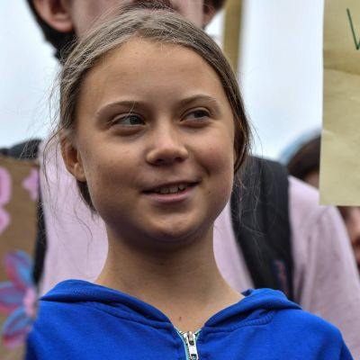 Greta Thunberg demonstrerar utanför Vita Huset i Washington.