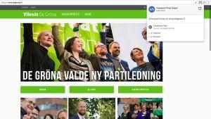 De Grönas webbplats.