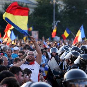 Mielenosoitus Romaniassa elokuussa 2018