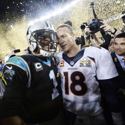Denver Broncos Peyton Manning och Carolina Panthers Cam Newton.