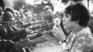 En hippiekvinna står med en blomma i handen inför beväpnade män.
