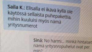 Chat med teleoperatör Elisa på nätet om abonnemang