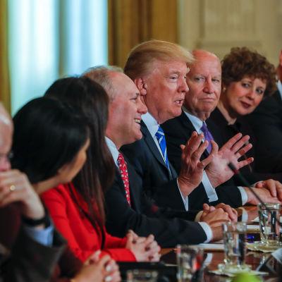 Donald Trump och Republikanernas ledarskap kring ett bord I Vitahuset.
