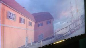 En animerad bild av Åbo med orangea byggnader vid åstranden i Åbo och ett förtöjt segelfartyg.